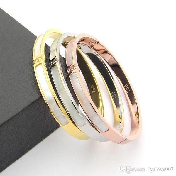 316L Titanium steel Love bangles Bracelets For Women Men three stones bangle Rose Gold white shell cuff Bracelet