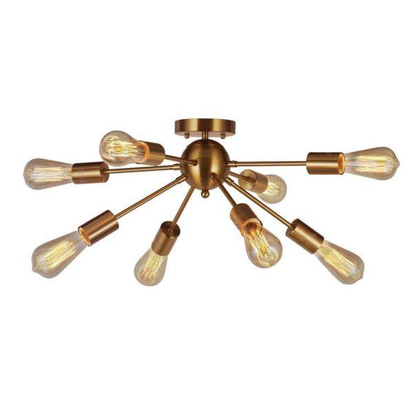 8-Light Sputnik Chandelier Brushed Brass Semi Flush Mount Ceiling Light Modern For Kitchen Bathroom Dining Room Bed Room Hallway