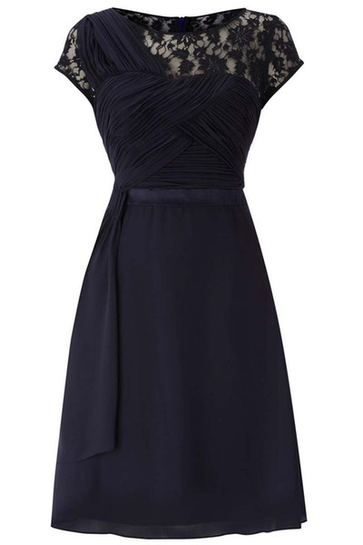Navy Blue A-line Knee Length Mother of the Bride Dresses with Lace for Wedding Party Mother of the groom Dresses