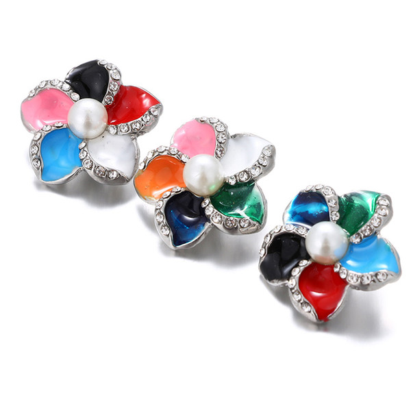 10Pcs Oil Painting Big Flowers 18MM Snap Jewelry Crystal Rhinestone Snap Buttons Fit 18mm Snap Bracelet Bangle For Women Jewelry