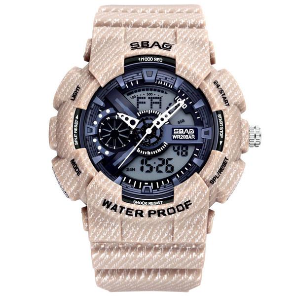 7e773bd290d Relógio dos homens novos Denim Moda Duplo Display Digital Relógios De Pulso  Casual Estudante À Prova D  Água Relógios Frete grátis venda