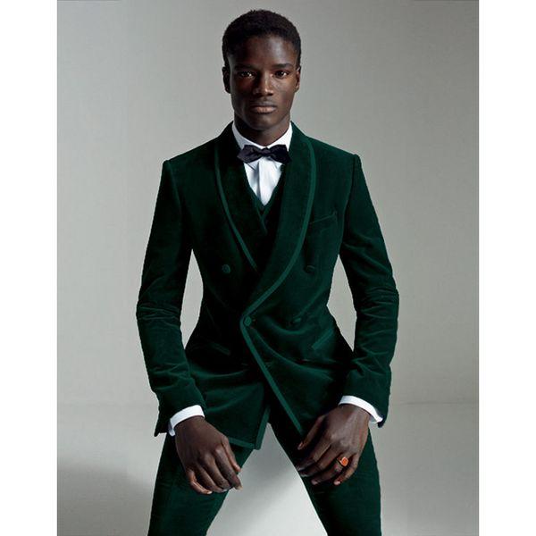 Moda 2019 Terno Masculino Homens Verde Escuro Terno Set Fino Noivo Smoking Terno De Veludo Mens Ternos De Casamento Casuais (Jacket + Pants + Vest)