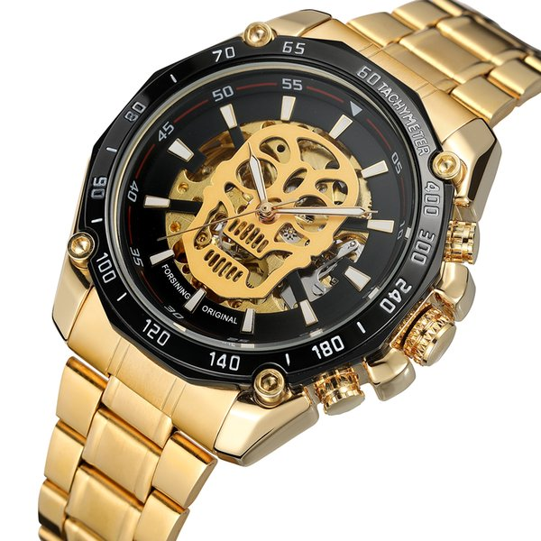 Winner 2018 Fashion Black Red Sport Watches Calendar Display Relojes automáticos automáticos para hombres Manos luminosas Cuero genuino