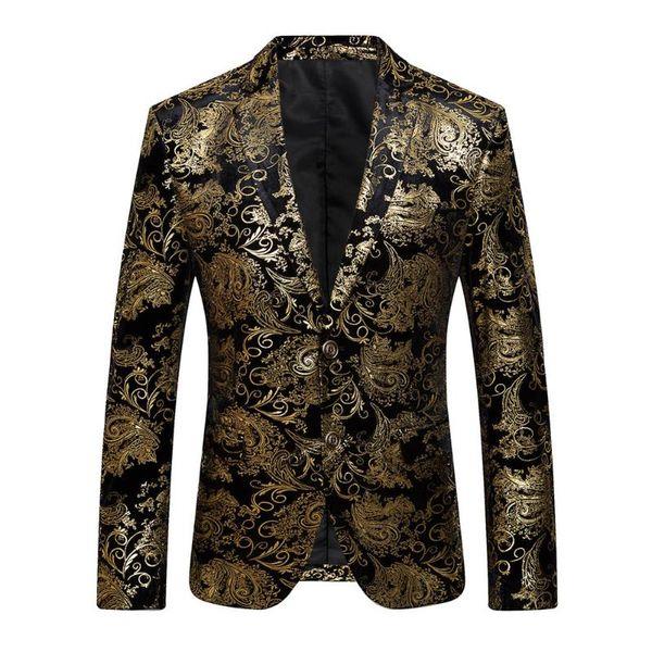 2018 Nouveau Mâle Floral Veste Costume Hommes Blazers Mode Unique Bouton Costumes Slim Fit Party Blazers Plus La Taille M-4XL