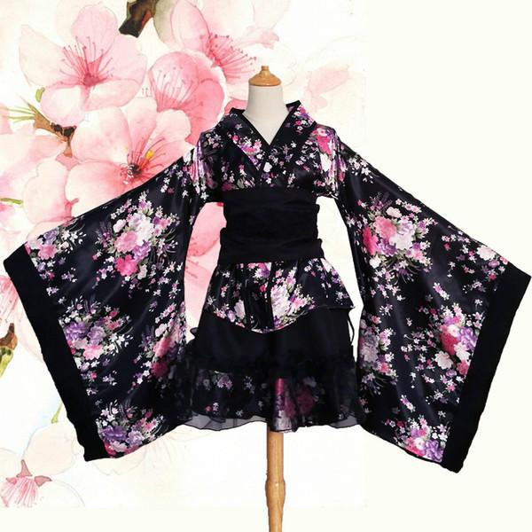 Japan GokuRakuJoudo Promise code Cherry Sakura Kimono Cosplay Lolita Dress Cute Maid Apron Halloween Party For Women Girls