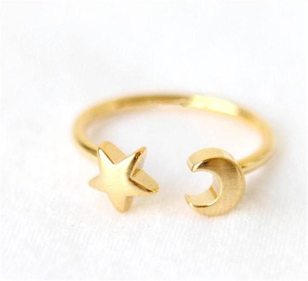 10pc New Fashon Gold Silver and Rose Gold Plated Adjustable Crescent Moon and Tiny Star Rings for Women KKA1948
