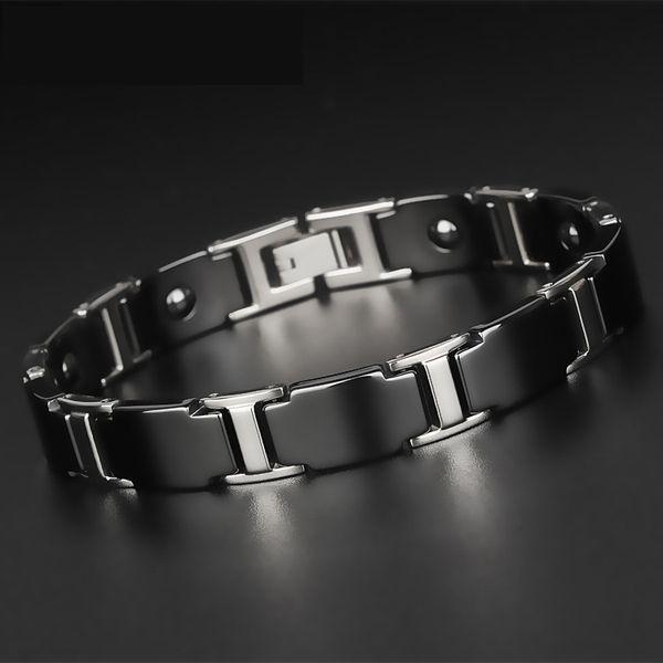Korean Mens Fashion Popular Health Bracelet Male Ceramic Braclet Black Tungsten Steel Energy Magnetic Therapy Bileklik