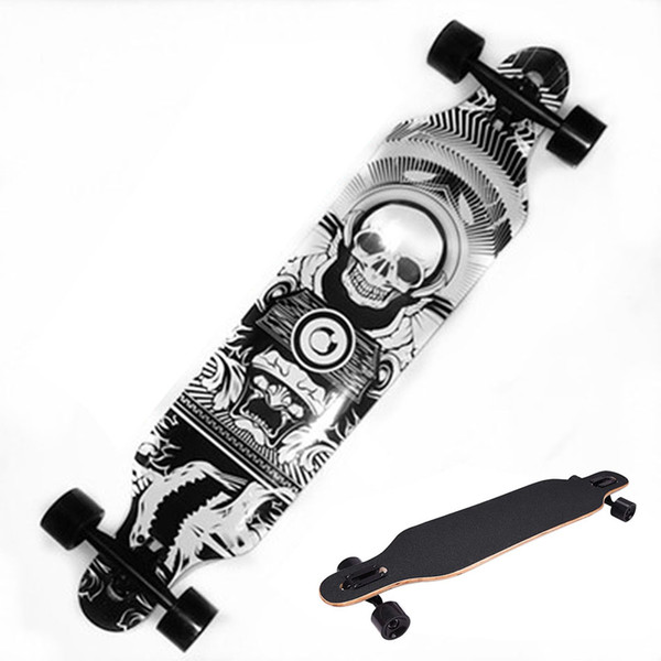 Professional Skull Pattern Skateboard Children Road Longboard Skid Resistance Skate Board 4Wheels Downhill Street Long Board