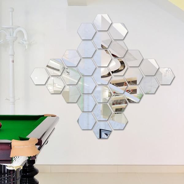 12Pcs 3D Mirror Wall Sticker Hexagon Vinyl Removable Acrylic Wall Stickers Art DIY Decal Home Living Room Bedroom Bathroom Decor