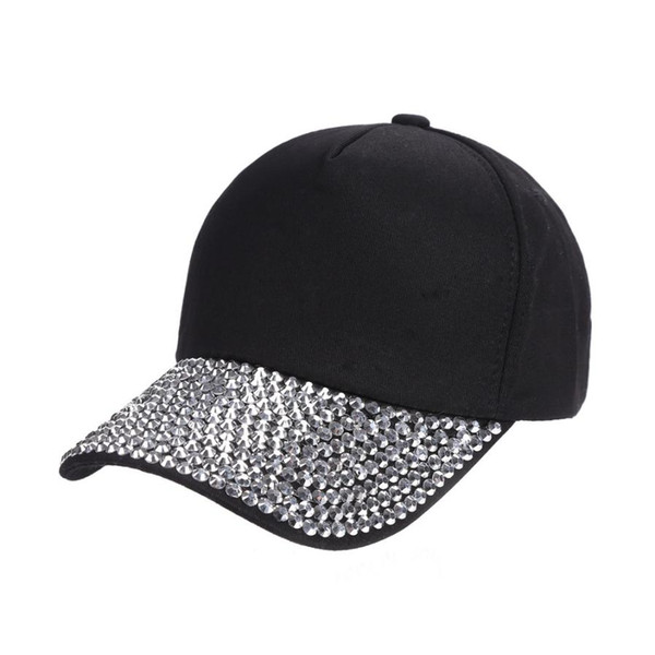 Womens Bling Damond Adjustable Cap Summer Sport Sunshade Rhinestone Hat Free Shipping 2018 Hot Sale Dropshipping Solid Color