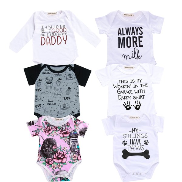 2018 Baby Boy Girl Clothes Party Siblings Daddy Auntie Letter Baby Bodysuit Short Sleeve Jumpsuit Onesie 0-18 Tiny Cottons