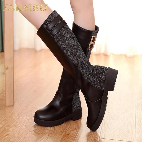 SARAIRIS grande taille 34-40 talons carrés glisser sur la vente chaude chaussures femme bottes femme chaussures plate-forme boucles mi bottes bottes femme