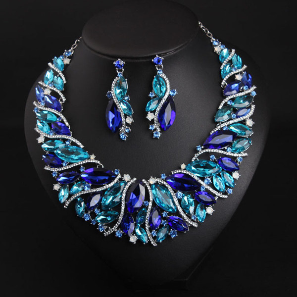 Crystal gemstone women clothes two piece sets short necklace earring set dress wedding gown wedding bridal accessories
