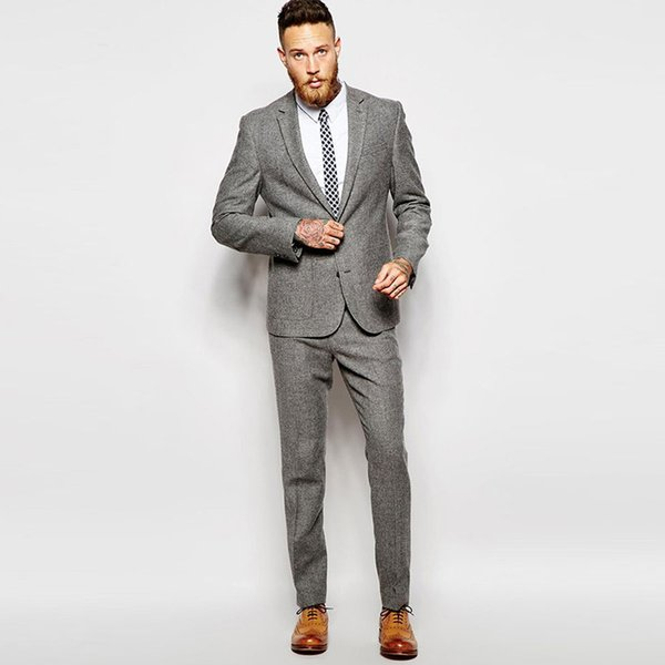 Custom grey men suits winter autumn tweed suits for business smart casual terno classic blazer jacket male costume 2 pieces