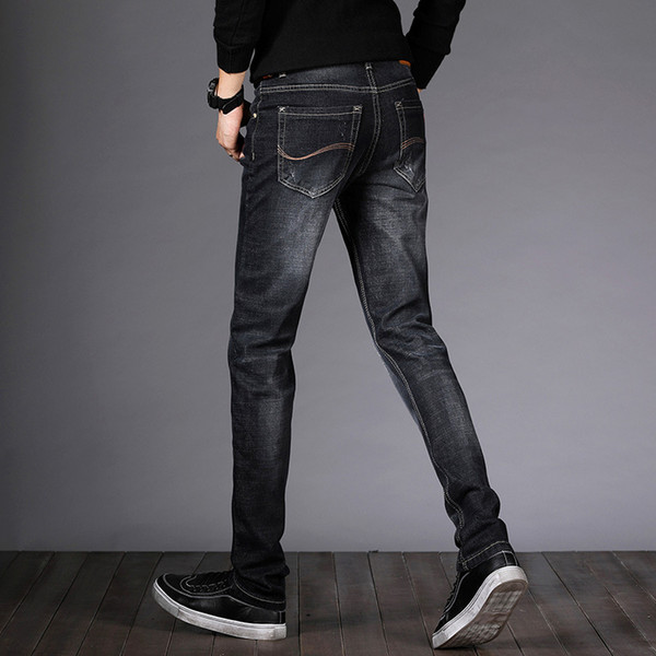 Icpans 2018 Black Jeans Men Classic Brand New Four seasons men's straight Slim fashion business casual trend scratched jeans
