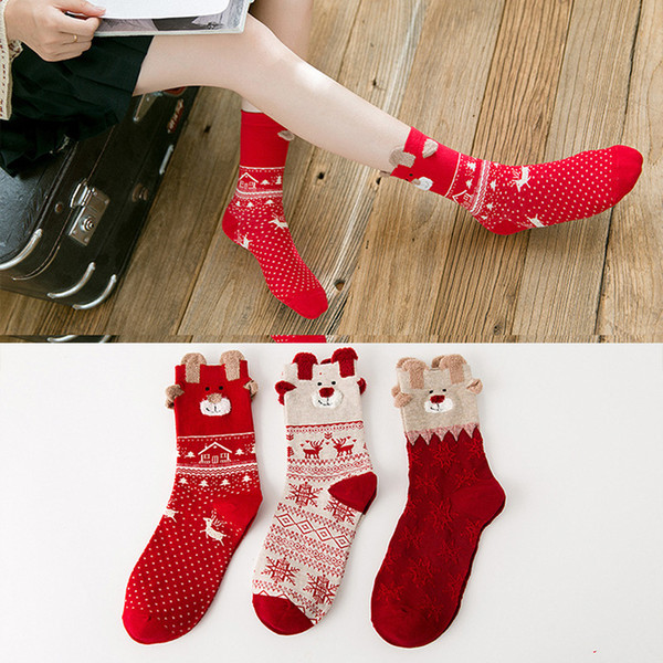 1pair autumn winter pattern printing socks for women thicken warm thermal cotton socks for girls cartoon design dress meia thumbnail