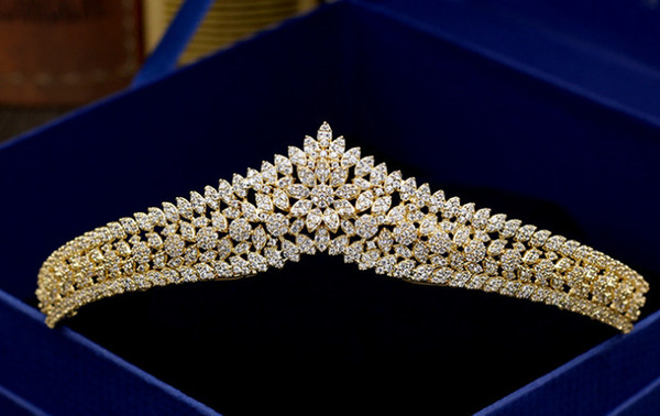 Luxury and high-end micro-set with gold full zircon bridal crown hair decoration wedding dress accessories banquet gift jewelry