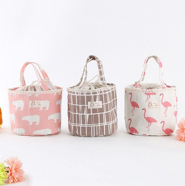Portable Bear Flamingo Insulated Drawing String Lunch Bag Cartoon Animal Picnic Pouch Bag Thermal Food Lunch Box Bag 6 Styles 100pcs OOA4570