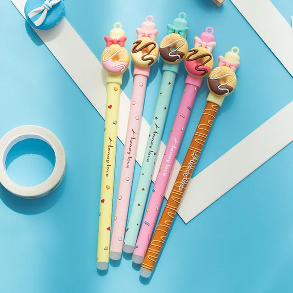 Coloffice 1pc kawaii Donuts Erasable pen Cartoon doll rubbing gel pens 0.5mm blue ink material escolar school & office supplies