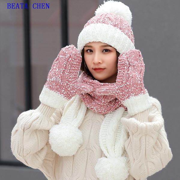 Écharpe d'hiver pour enfants avec bonnet de laine Beata Chen, gants, bonnet en tricot assorti décontracté automne-hiver