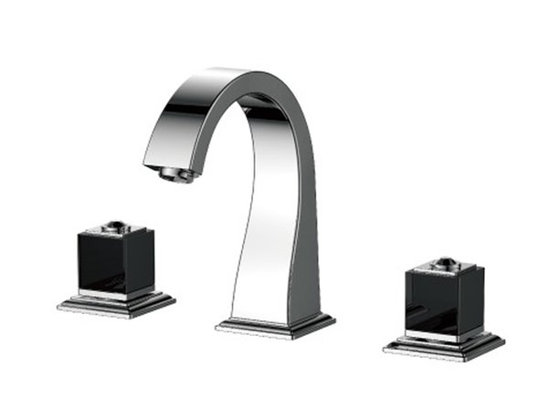 "Chrome 8"" Widespread Ceramic Valve Three Holes 3 Pcs lavatory Bathroom Washing Basin Mixer Tap Sink Faucet square design"