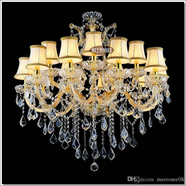 Galaxy Cognac Crystal Hotel Chandelier Torch Cristal lustres pendentes Large Hanging luminaire with 15 lights MD88062