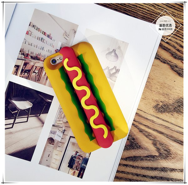Case For iPhone X food Fashion Cute Japanese Cartoon hot dog Protective Silicone Case for Apple iPhone 6S Plus