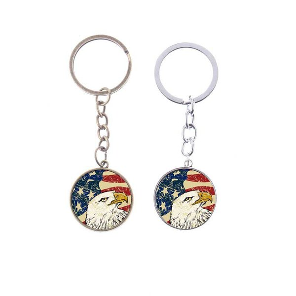 Vintage American Flag Keychain Star and Eagle USA Flag Creative Key Chain Silver/Bronze Plated Metal Art Glass Key Ring