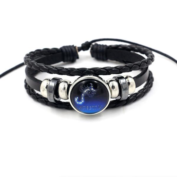 Hot 12 Constellation Bracelets Fashion Replaceable 18mm Noosa Chunks Ginger Snap Button Multilayer Bracelets Adjustable Charm Bracelets DIY
