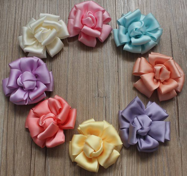 40pcs 20 Colors 8cm Rolled Satin Fabric Flowers for Baby Girls Headbands,Hair Clip Hairpins Flowers,Women Flower Accessories