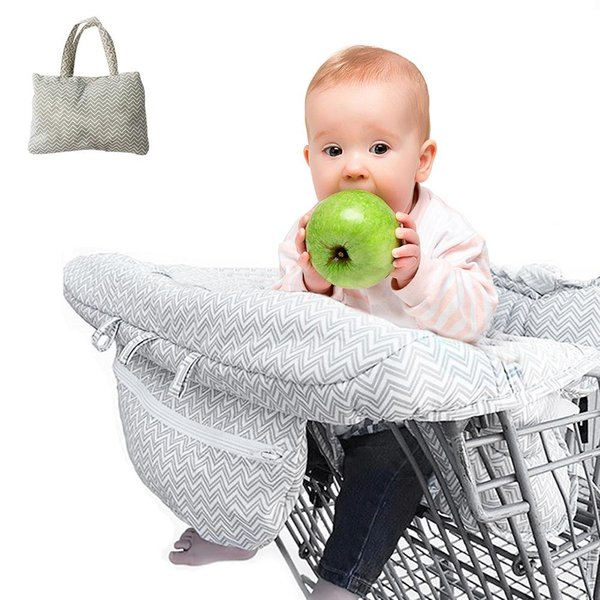Foldable Baby Shopping Cart Baby Seat Cover Protection Cover Trolley Soft Pad Infant Dining Chair Seat Cushion With Safety Belt