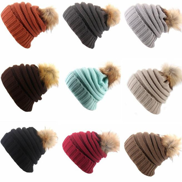 Women Winter Crochet Hat Exclusive Soft Stretch Cable Knit Faux Fur Pom Pom Beanie Hat 13 colors free shipping