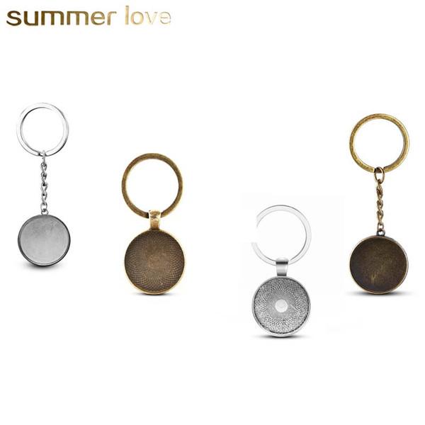 Großhandel 25mm Cabochon Cameo Base Tray Anhänger für Halskette Keychain Silber Bronze Farben Lünette Blank Fit DIY 25mm Glas Diy Schmuck