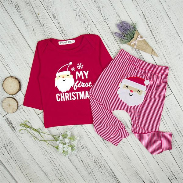 Baby My First Christmas Set Boys Girls Santa Claus Clothing Sets Letter Printed Tops + striped Pants 2PCS kids Christmas Outfits
