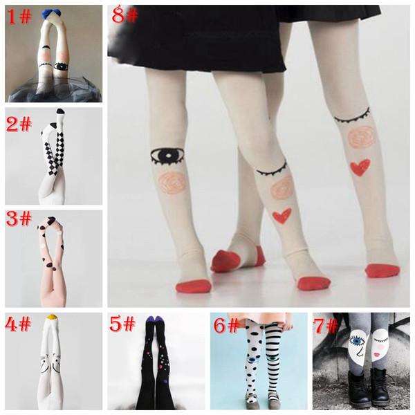 9 stili Dolce ragazza primavera e autunno calze per bambini grandi occhi collant selvatici cotone calzini principessa calze da ballo