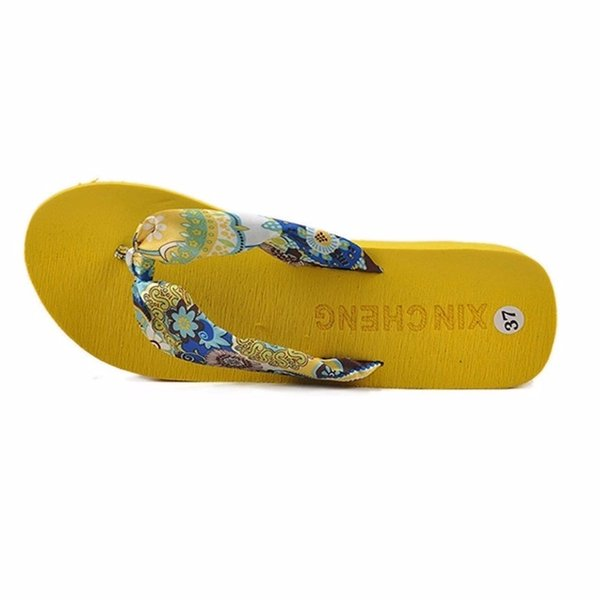 Midsummer Flip Flops Summer Satin Wedges Women's Platform Cushion Sandals Sandals and Slippers