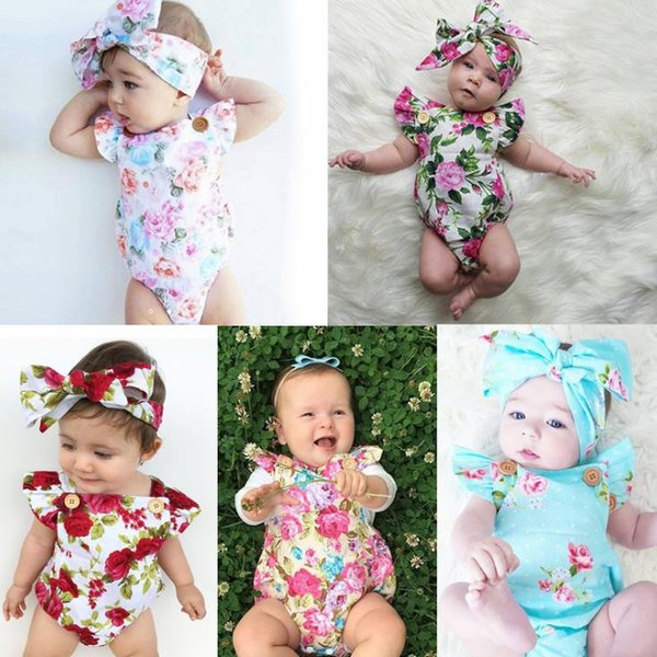 2018 5 Style INS Baby Boy girl rompers suits Children ins cartoon Flower Flying sleeve triangle rompers+Hair band 2pcs set baby clothes