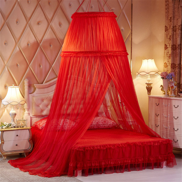 Red Lace Princess Double Round Curtain Dome Letto Baldacchino Rete Zanzariera Wedding per la sposa