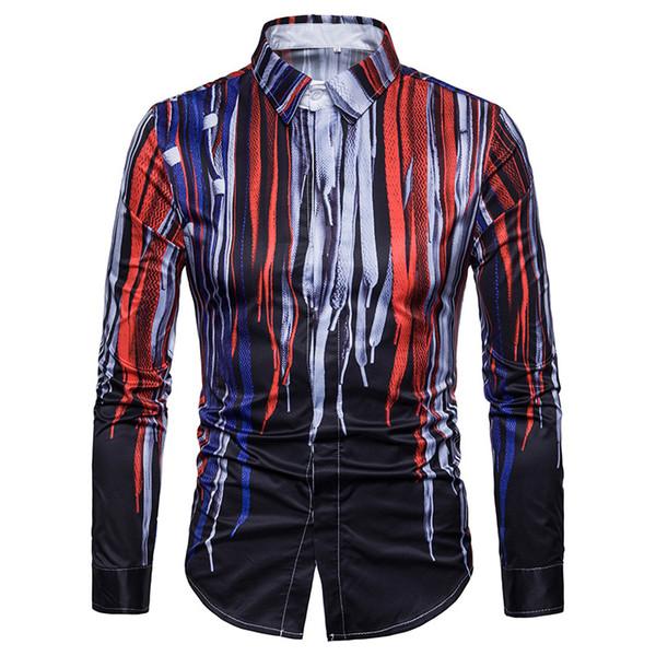 Men Shirt Camisa Masculina 2018 Fashion Splash Ink Striped Shirt Men Long Sleeve Casual Dress Shirts Male Social Club XXL