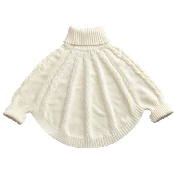 Baby Girls Sweaters Children Cotton Sweater Cape Coats Knitted Turtleneck Cloak Cardigan Christmas Princess Girls Clothes
