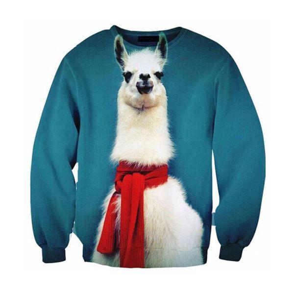 Animal 3D Fitness Sweatshirt Women/Men Casual Plus Size 5XL 6XL Tracksuit Hooded Funny Print 2018 Cute Alpaca Printed Hoodies