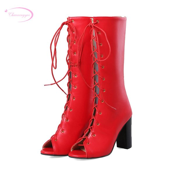 wholesale street style comfortable summer boots sandals fashion lace-up beige red black high-heeled thick women's shoes