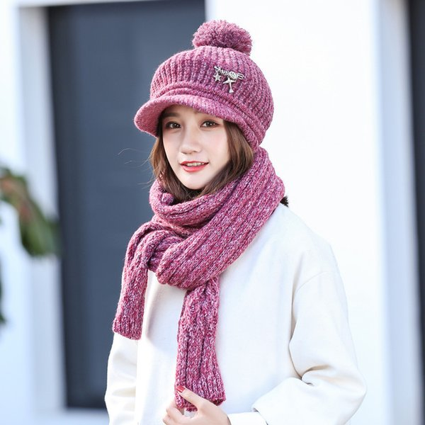COKK Winter Hats And Scarf For Women Knitted Cap Rabbit Fur Hat Female Thick Warm Outdoor Ski Cap Cold Winter Hat Scarf Bonnet