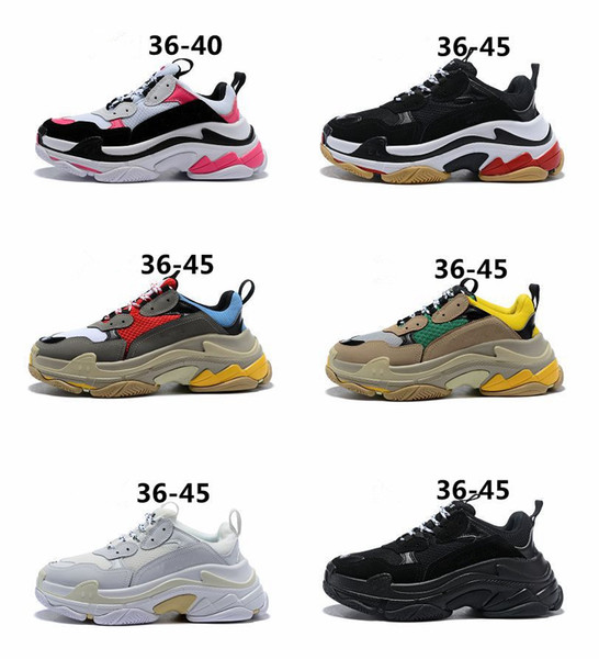 2018 Top Fashion Triple-S Paris Designer Luxury Casual Shoes for Men Women triple s All Black White Grey Green Red Sneaker Dad Shoes 36-45