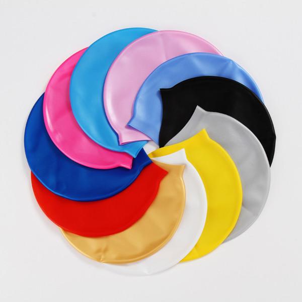 Cappelli di nuoto adulti flessibili impermeabili di nuoto del silicone dei cappucci di nuoto per gli uomini e le donne stampa di logo unisex