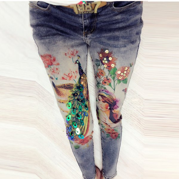 2018 New 3D Printing Jeans Brand Woman Sequined Denim Pencil Pants Stretch Pants Women Beading Jeans Plus Size A507
