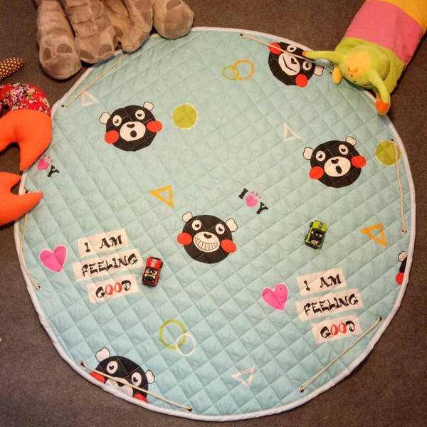 top popular INS Cartoon Room Mat   Manufacturer Wholesale Floor Mat for Cartoon Game Pad Baby Rugs Playmats for Toddler Crawling Toy Storage Bag 2021