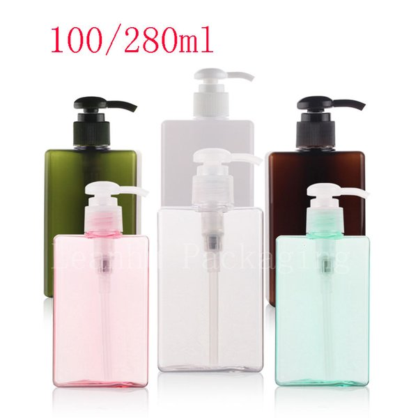 100ml 280ml Square Lotion Cream Pump Container Liquid Soap Plastic Square Bottle, Shampoo Shower Gel Cosmetic Package Container