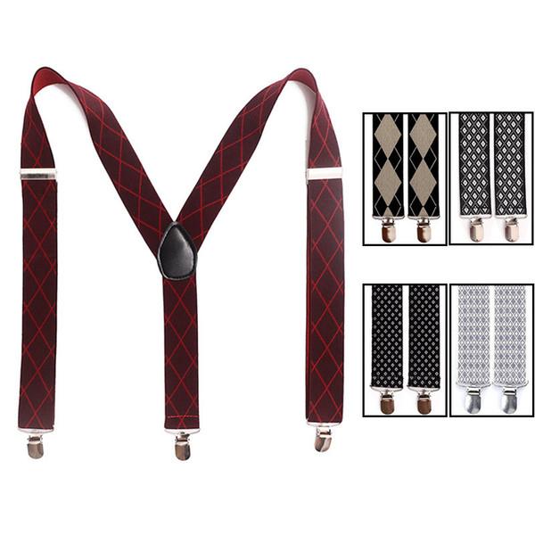8 Styles 3.5X100CM Tartan Vogue Men Clip-on Elastic Suspenders Adjustable Y-Shape Solid Color Braces Dress Suspender Back Belts