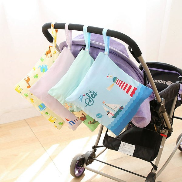 Waterproof Baby Diaper Bags Reusable Washable Zipper Baby Cloth Diaper Wet Dry Bag Tote for Nappy Storage